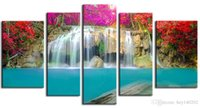 Wholesale Waterfall Art - Impressionist Canvas Painting Art Colourful Waterfall Scenery Pictures Print On Canvas Large 5 Piece Wall Pictures For Living Room FJ4