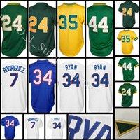Wholesale Rickey Jackson - stitched #34 Nolan Ryan 7 Ivan Rodriguez jersey Men 24 Rickey Henderson 35 Rickey Henderson 44 Reggie Jackson Baseball jerseys