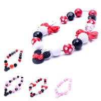 Wholesale Necklace Pendants For Kids - 2PCS Newest Design Mickey Pendant Necklace Birthday Party Gift For Toddlers Girls Beaded Bubblegum Baby Kids Chunky Necklace Jewelry