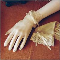 online shopping Korean Wedding Dress Full - 2017 New Style Korean Elegance Thin Summer is Wedding dress Bride Gloves White Lace Short Sexy Brief Korean