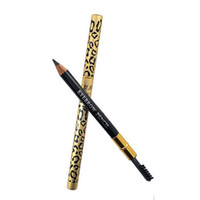 escovas de leopardo venda por atacado-Boa Qualidade Moda Leopardo Delineador Lápis Com Escova de Sobrancelha Pente De Metal De Alta Qualidade Delineador Mulheres Eye Beauty Pen