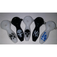 Wholesale punisher logo - Black The Punisher Glass Spoon Pipe Los Angeles Dodgers Glass Pipe New York Yankees Smoking Pipes 4'inches Custom Logo Glass Oil Burner