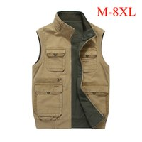 Wholesale Collared Military Vest - M-8XL big size men vest multi-pockets both side wear waistcoat stand collar cotton cargo military vest men casual colete IN8586