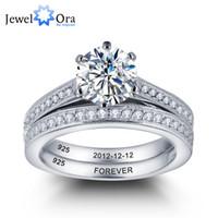 Wholesale Silver Wedding Ring Bridal Sets - Personalized Engrave Wedding Ring Bridal Sets 925 Sterling Silver Cubic Zirconia Women Rings Free Gift Box ( RI101888) 17401