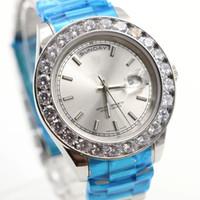 ingrosso grandi orologi a lunetta-2017 Luxury Super Good President Giorno Data Guarda Big Diamond Lunetta Multicolor) Quadrante diamanti Orologi Orologi Sapphire