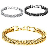 Wholesale Mens Figaro Chain Bracelet - 2017 Hot selling Jewelry 316L Stainless Steel Fashion Hip-Hop women Mens square figaro Chain bracelet silver gold black 6mm 8.66 inches