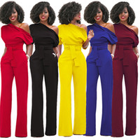 Wholesale Women S Yellow Jumpsuit - Fashion Oblique Jumpsuit 5 Color Solid Women Office Casual Half Sleeve Slim Fit Long Jumpsuit Overalls One-piece Pants w  Sashes
