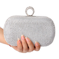 Wholesale clutch bag finger rings - Wholesale-NEW Rhinestones women clutch bags diamonds finger ring evening bags crystal wedding bridal handbags purse bags holder