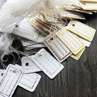 Wholesale-100Pcs etiquetas de papel Kraft etiqueta de boda de equipaje Note + String DIY precio en blanco Hang Tag Kraft regalo de plata de oro colores al por mayor