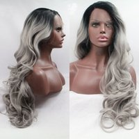 Wholesale Long Grey Wig Heat Resistant - Fashion Ombre Silver Grey Big Wave Synthetic Lace Front Wig Glueless Long Natural Black Gray Heat Resistant Hair Wigs For Women
