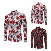Wholesale red paisley bandana - 2018 cotton hawaiian shirt for men Long sleeve Paisley Print bandana shirt Graphic Streetwear men floral shirt