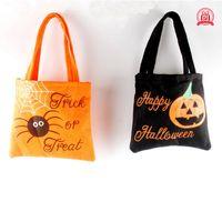 Wholesale Wholesale Totes Baskets - Halloween Pumpkin Candy Bag Trick Treat Non-woven Basket Tote Bag Cute Smile Face Handbag Halloween Decorations