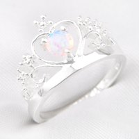 5 pièces / lot Vente en gros New Crystal White Fire Opal Gemstone 925 Sterling Silver Ring Russie American Australia Weddings Ring Jewelry Gift