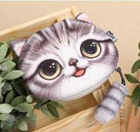 Wholesale Lovely Print Girl Boys - Original 3D Printing Creative Wallet Cute Necolus Cat Littel Tail New Trend Fashion Convenient Stuffed Bag Mini Lovely