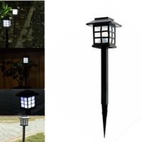 Wholesale Wholesale Solar Lamp Post Lights - Wholesale- 4 Pcs 2016 Hot Waterproof Cottage Style LED Solar Garden Light Outdoor Garden Path Road Lawn Post Lamps Decoration Deck Lighting