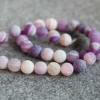 Wholesale Purple Jasper - New Necklace&Bracelet 10mm Multicolor Purple Natural Frosted Agate beads Round Jasper jade Loose carnelian 15inch Jewelry