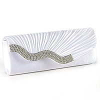 Wholesale Satin Fabric Clutches Wholesale - Wholesale- IMC Handbag Evening Clutch Wallet Fabric baguette Type Satin Pleated with Serti Waterfront Strass White