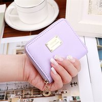 Wholesale Decorated Letters - 2017 High Quality women wallet Brand Metal sheets Decorate PU Leather Wallet Women Fashion Zipper Wallet Women Short Coin Purse