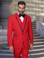 Vender como bolos quentes! Popular Red Wedding Groom Tuxedo Melhor homem Suit Formal Men Dinner Party Prom Suit