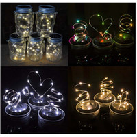 Wholesale Power Lid - 6colors Solar Powered LED Mason Jars Light Up Lid 10 LED String Fairy Star Lights Screw on Lids for Mason Glass Jars Christmas Garden Lights