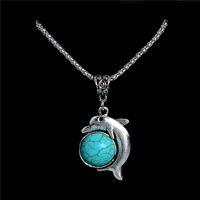 Wholesale Fine Tibetan Pendant - Wholesale- Fashion Turquoise Statement Necklace Vintage Tibetan Silver Chain Dolphin Pendant Necklace Animal Style Fine Jewelry