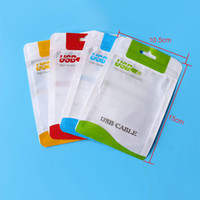 Wholesale Hole Opp Bag - 15*10.5 14*8cm Zipper Plastic Retail bag Package hang hole Poly packaging for USB cable poly opp packing bag