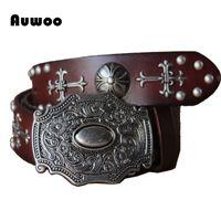 Wholesale Heavy Leather Belt - Wholesale- 2016 Men Retro Gothic belt personality rivets belts steam punk Heavy metal rock belt handmade genuine leather Cinto