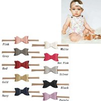 Wholesale Soft Leather Baby - Fashion 5.5 inch Head Wrap Artificial Leather Litchi Stria Bows Nylon Soft Baby Girls Headband
