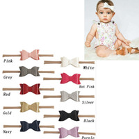 Moda 5,5 polegadas Head Wrap Artificial Leather Litchi Stria Bows Nylon Soft Baby Girls Headband