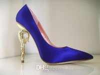 Wholesale Blue Shoes For Bride - Ralph & Russo Haute Couture Collection SHOES blue satin BAROQUE PUMPS EMERALD SATIN WITH YELLOW GOLD HEEL Wedding Shoes for Modern Brides