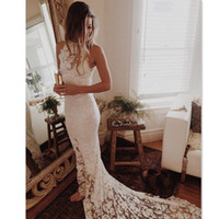Wholesale White Bridal Lights - 2017 Mermaid Lace Beach Wedding Dresses Simple Light Bridal Gowns Sheer Summer Custom Made Dress For Brides
