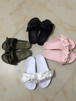 Wholesale Green Butterfly Canvas - 2017 New Womens Satin Fenty Bandana Slide Slippers Designer Ladies Rihanna Butterfly Slippers Gold Pink Red White Purple Blue New In Box