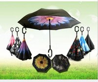 Windproof Inverted Umbrella Double Layer Reverse Folding Umbrellas Self Stand Inside Out chuva Uv proteção C Gancho Long Handle Umbrella