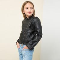 Wholesale Wholesale Big Clothing Leather - New Fashion Big Girls PU Coats Leather Children Clothing Girl's Coat Long Sleeve Zipper jacket High Quality Coats Tops Burgundy Black A7385