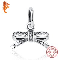 Wholesale Silver Knot Charms - BELAWANG 925 Sterling Silver Cubic Zircon Charms Bow Knot Pendants for Women Authentic DIY Jewelry fit Pandora Charm Bracelet & Necklace