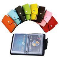 erkek cüzdan boyutu toptan satış-24 Kart yuvaları 2 taraflı plastik Kart Tutucu boyutu küçük renkli kartvizit paketi kadın cüzdanlar erkek cüzdan toptan LZ0450