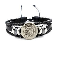 Wholesale Men S Leather Set - Simple Retractable Men 's alloy Indian skull Rivet Punk Bracelet Rock Charm Bracelets Men Friends Gifts