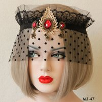 Wholesale Half Veil Wedding - Black Lace Resin Beads Veil Crown Upper Half Face Mask Xmas Halloween Masquerade Club Party Face Masks Ladies Women Mask