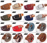 Wholesale Plain Metal Belt Buckles - Big children Mens Womens Canvas Plain Webbing Metal Buckle Woven Stretch Waist Belt canvas Braided Belts good qulity 50 PCS YYA532