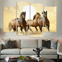Wholesale Abstract Horse - 4Panel Modern Horse Canvas Painting Abstract Wall Pictures For Living Room Good Quality Oil Modular Pictures(No Frame)