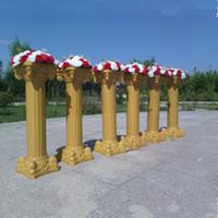 Wholesale Wholesale Columns For Weddings - wholesale high quanlity plastic roman columns for wedding road lead props white gold 88cm 90cm party concert decorations