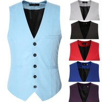 Wholesale Men Colored Blazer - Wholesale- XXXL Plus Size Colored Causal Slim Sleeveless Blazer Jacket Formal Business Waistcoat Men Suit Vest Purple Green Red Black Brown