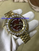 Wholesale Diamond Hand Bracelets - Mens Arrival High Quality Watch Asia ETA 2831 Movement Yellow Gold 36mm DAY-DATE Full Diamond Bezel bracelet Red Dial Automatic Wristwatches