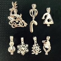 ingrosso braccialetti a tema-Ciondolo con ciondolo a forma di ciondolo stile collana a tema natalizio, in grado di aprire perline pendenti con gemme di perle