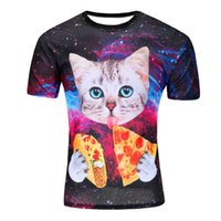 Wholesale Eat Cats - Wholesale- Raisevern 2016 new galaxy space 3D t shirt lovely kitten cat eat taco pizza funny tops tee short sleeve summer shirts plus size