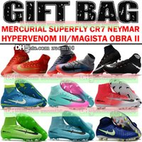 Wholesale Soccer Boots Acc - Mens Mercurial Superfly CR7 V AG FG Football Boots Ronaldo High Ankle Magista Obra II ACC Soccer Shoes Neymar JR Phantom IC TF Soccer Cleats