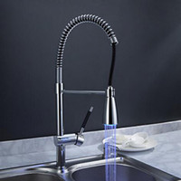 Wholesale Kitchen Sink Styles - LED Rotatable Kitchen Faucet with Single Handle One Hole for Nickel Brushed Hot and Cold Modern New Style Kitchen Sink Faucet