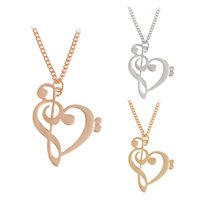 Wholesale Notes Necklace - Minimalist Simple Fashion Hollow Heart Shaped Musical Note Pendant Necklace Music Jewelry Gold Silver Special Gift