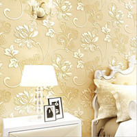 Wholesale Damascus Wallpaper - Wholesale Top Quality Fabric Mural Paper Flocking Wallpapers Luxury Non Woven Wallpapers 3d embossed damask Damascus wallpaper