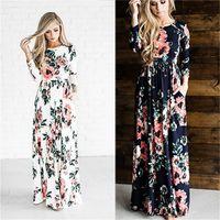 Wholesale Three Floors Dress - 2017 Women Summer Dress Printed Long Boho Beach O-neck Three Quarter Sleeve Empire Flower Floor-length Maxi Dress